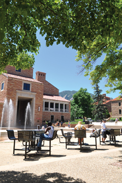Enjoying the View With its location at the base of the Rocky Mountains, CU-Boulder is often called one of the most beautiful college campuses in the country.  Photo courtesy of University of Colorado