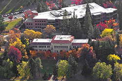 Fall on campus- aerial shot