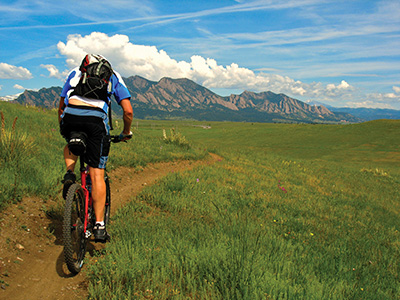 Mountain biking towards flatirons