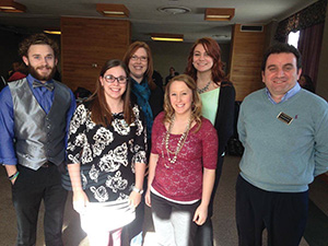 Partners in Prevention meeting Spring 2015, Joshua Knight, Alexis Mika, Sadie Purinton, Amy Kiger, nicholle Scheibe and Adriatic Likcami