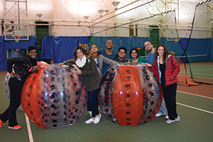 Bouncing here and there and everywhere! Bubble Soccer is a favorite late night activity for TCNJ students.